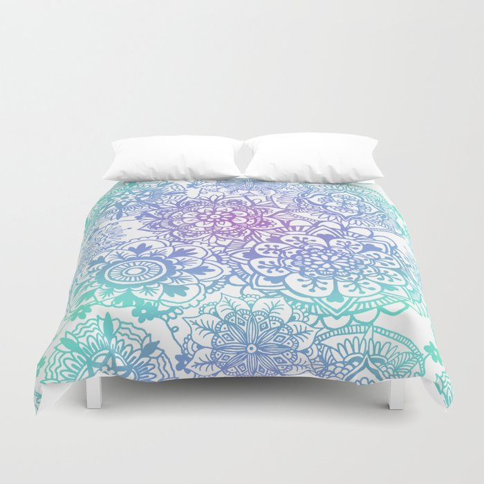 pastel mandala hippy boho pattern duvet cover bed sheet