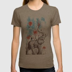 A Happy Place Womens Fitted Tee Tri-Coffee SMALL