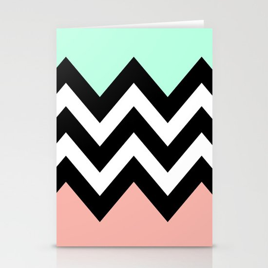 DOUBLE COLORBLOCK CHEVRON {MINT/CORAL/BLACK} Stationery Card