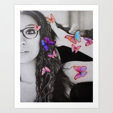 self-portrait with butterflies Art Print