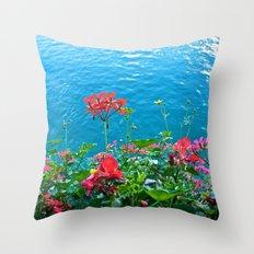 Chapel Bridge Flowers Throw Pillow
