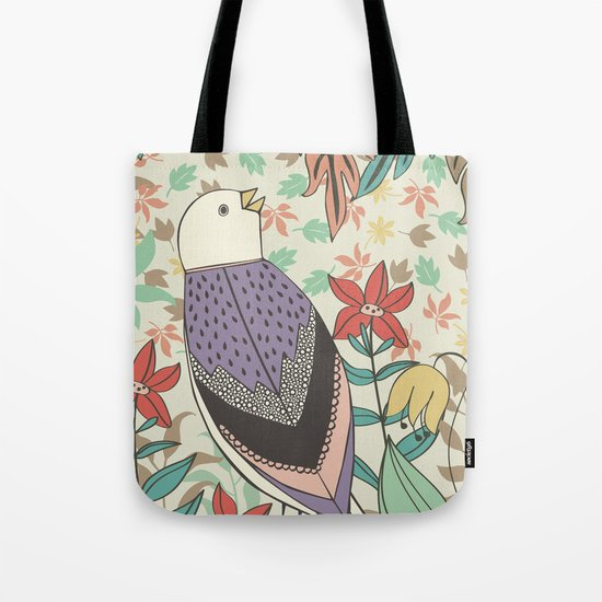 Bird and Autumn Leaves Tote Bag