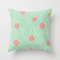 Raspberry Patch Aqua Throw Pillow