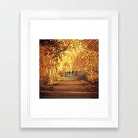Golden walk Framed Art Print