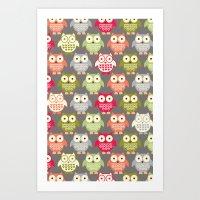Forest Friends Owls Art Print