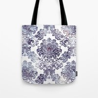 Blueberry Damask Tote Bag
