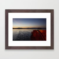 Paddle Boat Sunset View Framed Art Print