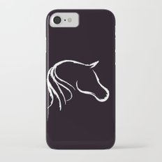 Horse white on black Slim Case iPhone 7