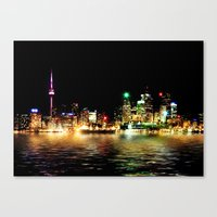Toronto Skyline At Night From Polson St Reflection Canvas Print
