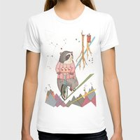 Bear In Bicycle Womens Fitted Tee White SMALL