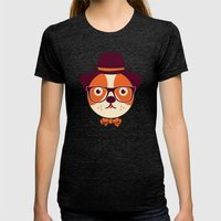 Hipster Dog Womens Fitted Tee Tri-Black SMALL