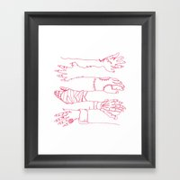 Classic Horror Hands (Red Line) Framed Art Print