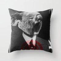 Koala Yawn Throw Pillow