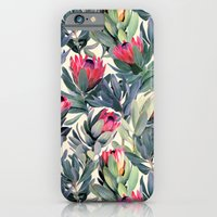 floral pattern iPhone & iPod Cases featuring Painted Protea Pattern by micklyn