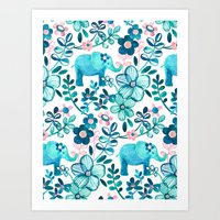 Dusty Pink, White and Teal Elephant and Floral Watercolor Pattern Art Print