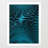 Zigzag In Blue Art Print