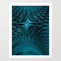 Zigzag In Blue Art Print