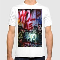 Help Me Graffitti Mens Fitted Tee White SMALL