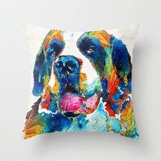 Colorful Saint Bernard Dog by Sharon Cummings Throw Pillow