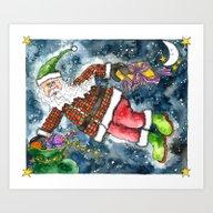 Art Print featuring Santa by Shelley Ylst Art
