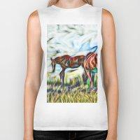 Abstract Horses In Paddo… Biker Tank
