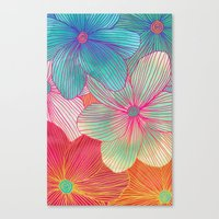 Canvas Print featuring Between the Lines - tropical flowers in pink, orange, blue & mint by micklyn