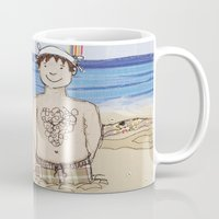 Embroidered Father and Daughter Beach Illustration Mug