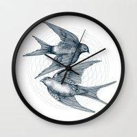 Two Swallows Wall Clock