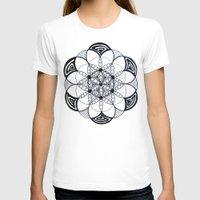 Geometric Sacred Geometry Flower of Life Pattern Mandala Womens Fitted Tee White SMALL