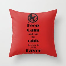 Keep Calm And May The Odds Throw Pillow