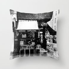 Snow falling in the West End Throw Pillow
