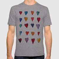 Multiple HEARTS Mens Fitted Tee Athletic Grey SMALL