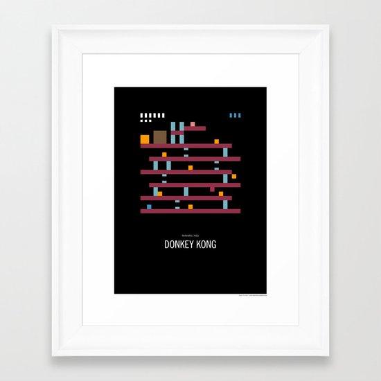 Minimal NES - Donkey Kong Framed Art Print