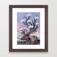 Journeying Spirit (deer) sunset Framed Art Print