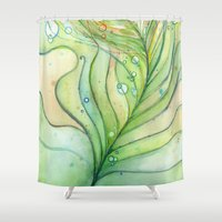 Green Watercolor Feather and Bubbles Shower Curtain