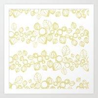 Leafy Stripes  Art Print