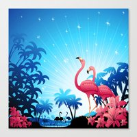 Pink Flamingos On Blue T… Canvas Print