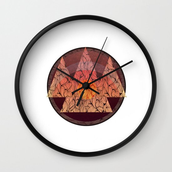 Sunset in the mountains Wall Clock