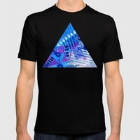 Wave Blue II Mens Fitted Tee Black SMALL