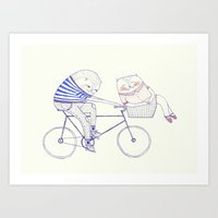 bicycle cat Art Print