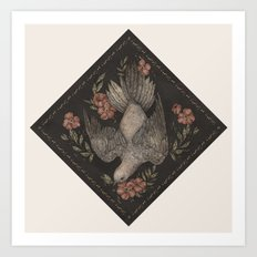Dove And Flowers Art Print