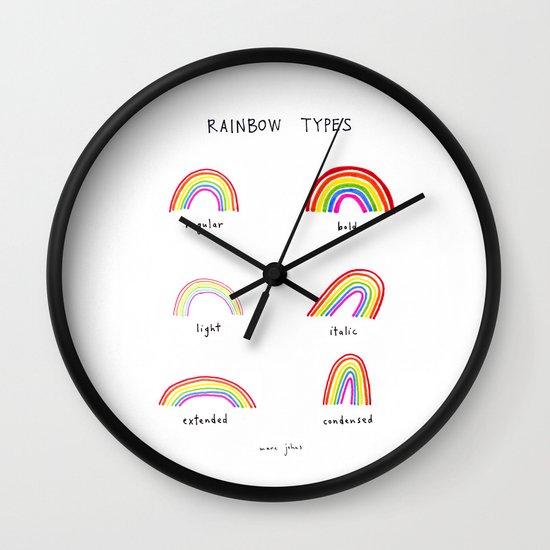 rainbow types Wall Clock