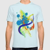 flying paint Mens Fitted Tee Light Blue SMALL