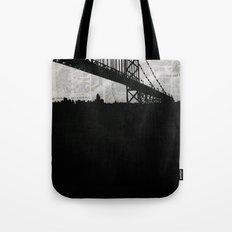 Paper City, Newspaper Bridge Collage, night silhouette cityscape news paper cutout, black and white Tote Bag