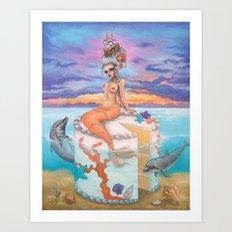 Marie Antionette Mermaid  Art Print
