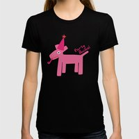 Party Animal-Pink Womens Fitted Tee Black SMALL