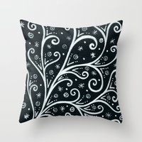 Midnight Branching Throw Pillow