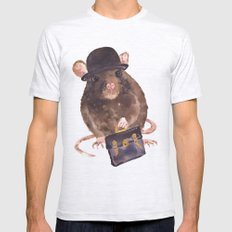rat, journalist, office rat, rat in hat, cheeky rat, British, funny rat Mens Fitted Tee Ash Grey SMALL