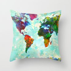 Abstract Watercolor World Map Throw Pillow