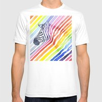 Zebra Rainbow Stripes Camouflage Mens Fitted Tee White SMALL